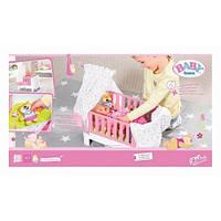 Кроватка для куклы BABY BORN - СПОКОЙНОЙ НОЧИ (звук, с игрушкой и постельным набором) Zapf 827420