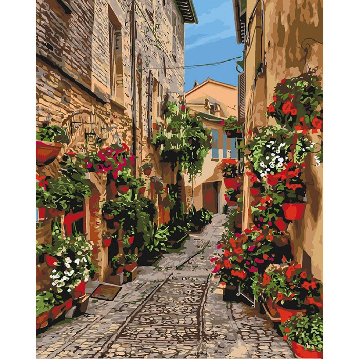 Картина по номерам Идейка - Цветущая улочка 40x50 см (КНО3549)