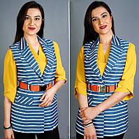 Оригинальный, нарядный женский жилет в полоску, батал, удлинненный, сине-белый, офисный, деловой, повседневный