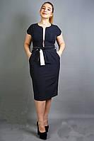 Нарядное платье-футляр, синее, в мелкий пудровый горошек, батал, длиной миди, офисное, деловое, повседневное