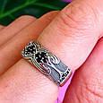 Серебряное кольцо с черными цирконами - Необычное кольцо из серебра с черными камнями, фото 9