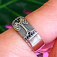 Серебряное кольцо с черными цирконами - Необычное кольцо из серебра с черными камнями, фото 8