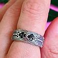 Серебряное кольцо с черными цирконами - Необычное кольцо из серебра с черными камнями, фото 7