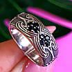 Срібне кільце з чорними цирконами - Незвичайне кільце з срібла з чорними камінням, фото 4