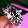 Серебряное кольцо с черными цирконами - Необычное кольцо из серебра с черными камнями, фото 4