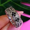 Срібне кільце з чорними цирконами - Незвичайне кільце з срібла з чорними камінням, фото 6