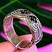 Срібне кільце з чорними цирконами - Незвичайне кільце з срібла з чорними камінням, фото 2