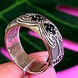 Серебряное кольцо с черными цирконами - Необычное кольцо из серебра с черными камнями, фото 2