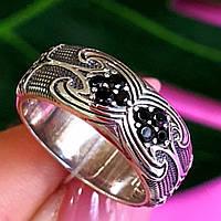 Серебряное кольцо с черными цирконами - Необычное кольцо из серебра с черными камнями