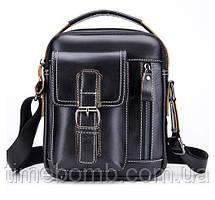 Мужская кожаная наплечная сумка барсетка Laoshizi Luosen черная