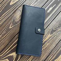Мужской кошелек из натуральной кожи Besane с монетницей темно синий, фото 1