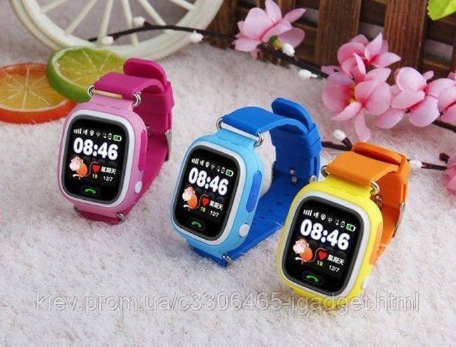 Детские Смарт Часы Q90 ( Q90S) ( черные , синие , оранжевые , розовые )