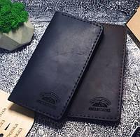 Мужской кожаный кошелек Legendary черный + упаковка в подарок, фото 1