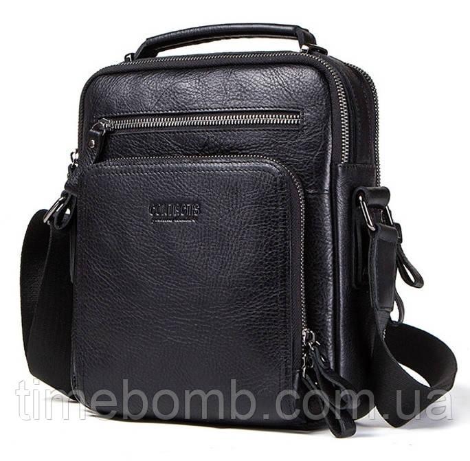 Мужская кожаная наплечная сумка Contacts с распашными карманами черная 049