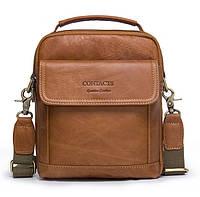 Мужская кожаная сумка барсетка Contacts коричневая 050, фото 1