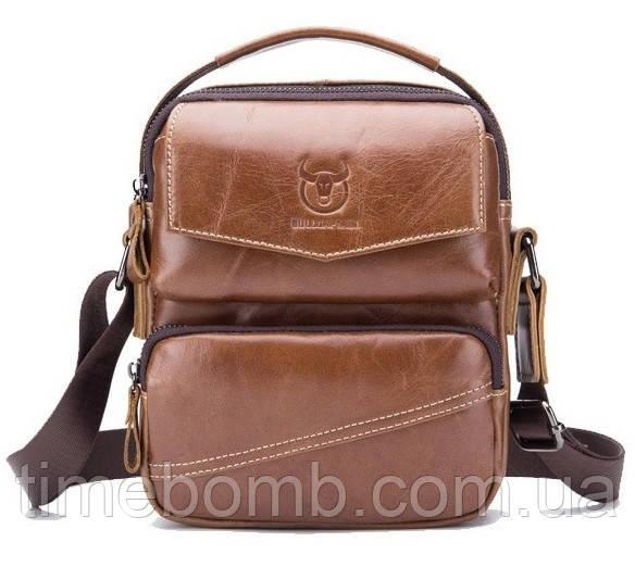 Мужская наплечная кожаная сумка барсетка BullCaptain коричневая 063