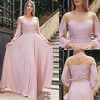 Вечернее нарядное длинное платье из шифона нежно-розового цвета, на свадьбу, на выпускной, с длинным рукавом