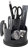 Набор настольный  BUROMAX с наполнением (16 предметов), пластиковый, черный BM.6304-01