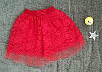 Стильная гипюровая юбка на девочку 6-12 лет