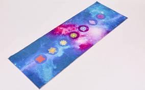 Коврик для йоги и фитнеса Замшевый PVC двухслойный 6мм SP-Planeta FI-6873-3 (размер 173смx61смx6мм, синий, с п