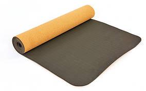 Коврик для йоги Пробковый каучуковый двухслойный 5мм ZELART FI-7212 (размер 1,83мx0,61мx5мм, пробковое дерево,