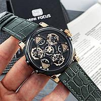 Часы наручные кварцевые мужские Mini Focus Чёрные с серым ремешком