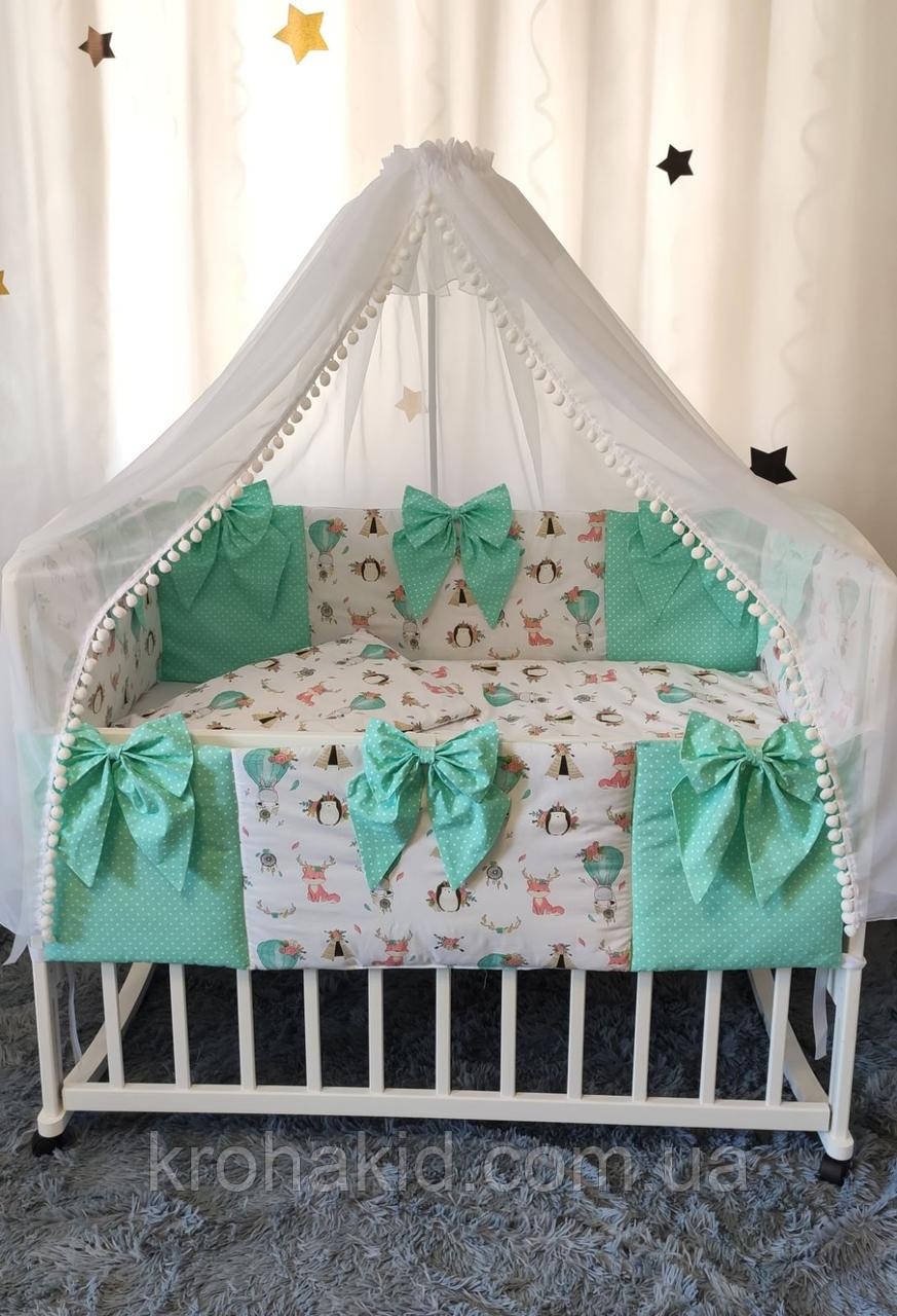 """Набор постельного белья детскую кроватку/ манеж """"Бант"""" - Бортики в кроватку / защита в детскую кроватку"""
