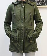 Парка/куртка женская зеленая длинная S