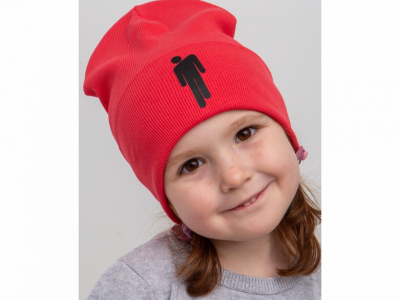 Модная шапка с отворотом для девочки на весну-осень - Артикул 2609