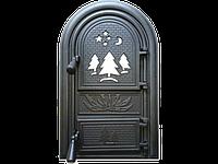 Дверцы печные со стеклом Лес. Дверцы для печи и барбекю (560х345мм), фото 1