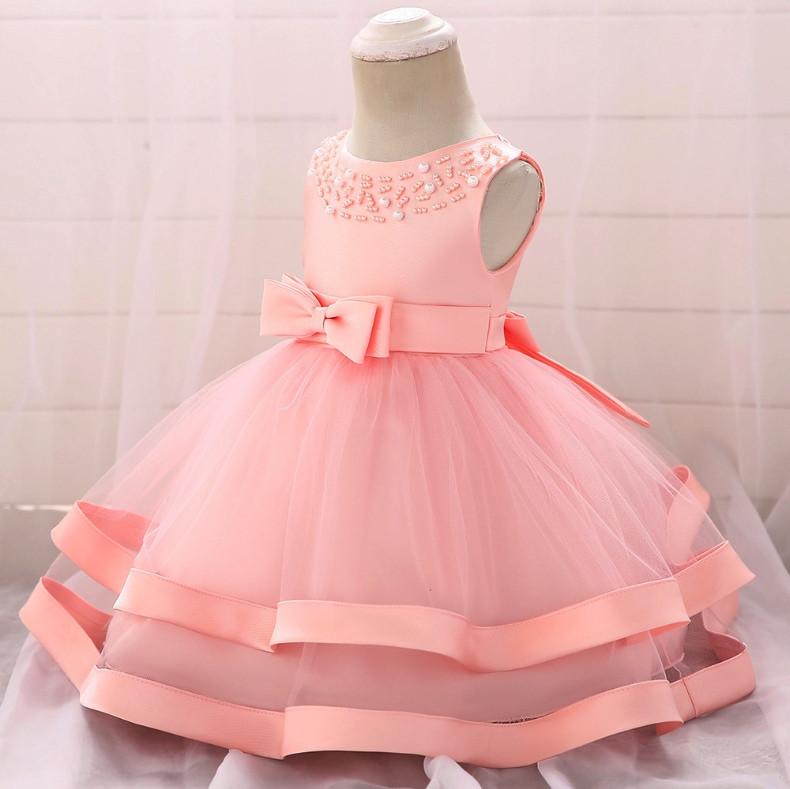Нарядное детское платье на девочку с бусинами розовое 1-2 года