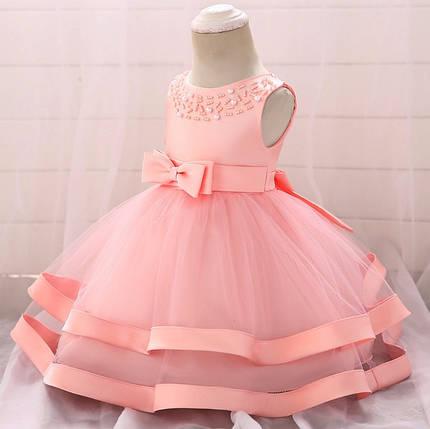 Нарядное детское платье на девочку с бусинами розовое 1-2 года, фото 2