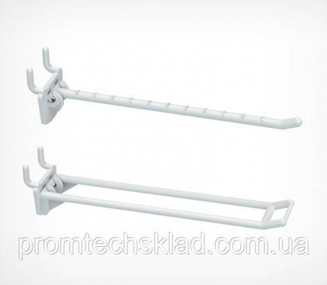 Крючок двойной перфорированній пластиковый 200 мм белый