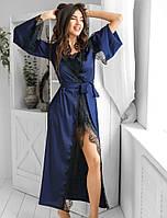 Удлиненный пеньюар с кружевом. Женская одежда для дома. Женский халат