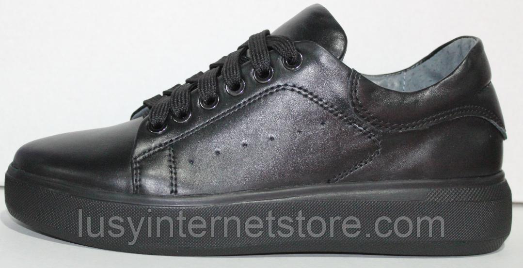 Кроссовки черные женские кожаные от производителя модель РИ110-4