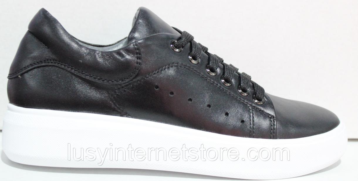 Кроссовки черные женские кожаные от производителя модель РИ110-5