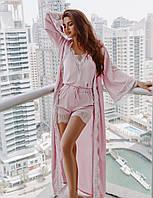 Удлиненный розовый пеньюар с кружевом. Женская одежда для дома. Женский халат