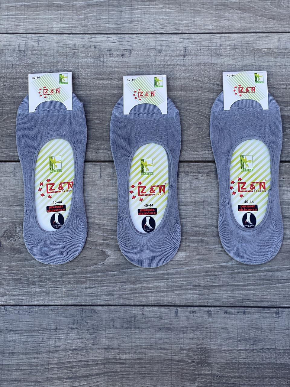 Чоловічі сліди бамбук Z&N однотонні з силіконом 40-45 12 шт в уп світло сірі