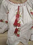 Женская вышиванка (белая с красными цветами) - размер 58, фото 4