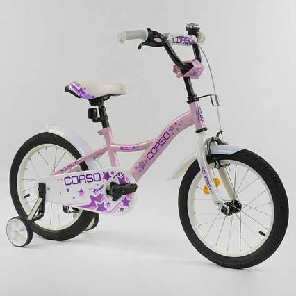 """Велосипед 16"""" дюймов 2-х колёсный """"CORSO"""" S-60882 (1) РОЗОВЫЙ, ручной тормоз, звоночек, доп. колеса, СОБРАННЫЙ НА 75%"""