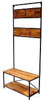 Вешалка в прихожую GoodsMetall из металла и дерева в стиле Лофт 1900х800х350мм Грэмми
