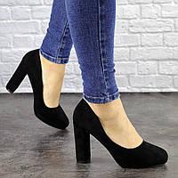 Туфли женские черные Nala на высоком каблуке 1492, фото 1