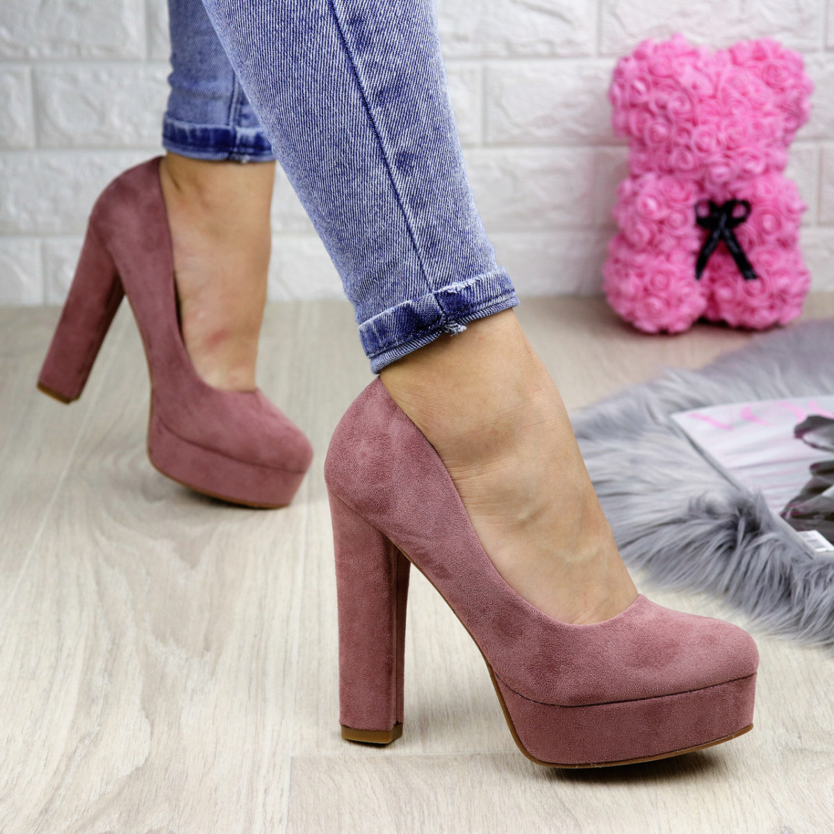 Туфли женские Alana пудровые на каблуках 1248