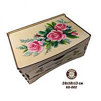 Шкатулка-комод під вишивку бісером KD-002 Ніжні троянди