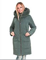 Женская куртка стильная с мехом чернобурки от производителя 42, 44, 46, 52, 54 р тёмная олива цвет
