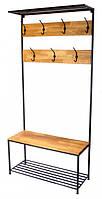 Вешалка в прихожую GoodsMetall из металла и дерева в стиле Лофт 1900х900х350мм Митчелл