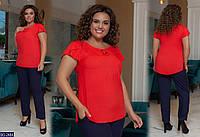 Женский  легкий летний костюм большого размера. Размер:  48-50, 52-54, 56-58, 60-62. Ткань:  софт.