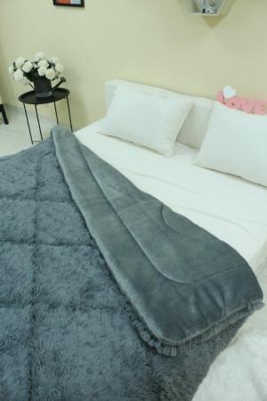 Одеяло покрывало травка с наполнителем холлофайбер меховое с длинным ворсом 210*230