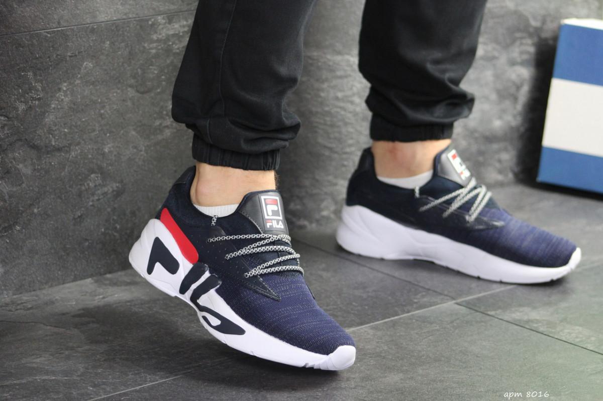 Мужские кроссовки темно синие с белым Fila 8016