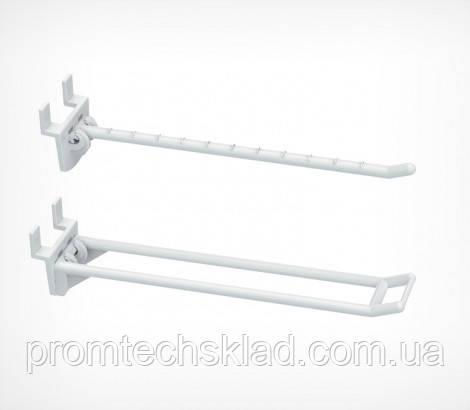Крючок одинарный пластиковый на экономпанели 100 мм белый